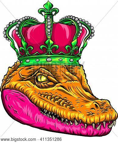 Head Of Queen Crocodile Vector Illustration Design