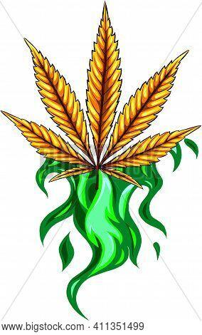 Leaf Of Hemp Fiery Vector Illustration Design