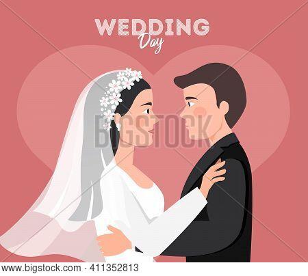 Wedding Quarantine. Groom And Bride Wearing Protective Face Mask On Wedding Day. Flat Vector Illustr