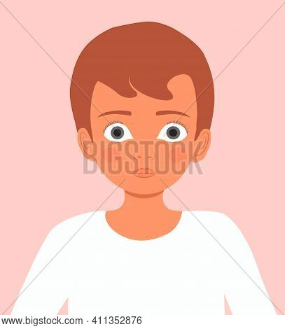 Head Of A Little Boy In Profile. The Cute Face Of A Child. Head Of Cartoon Character Boy. Portrait O