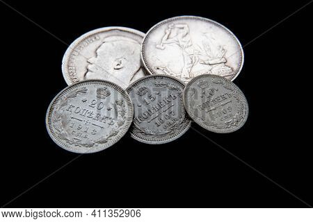 Background From Old Money Of Imperial Russia. 19 - 20 Century.vintage Multi-colored Russian Coins (t