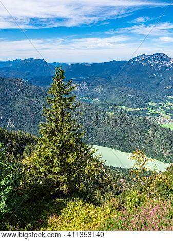 View From The Mountain Prediktstuhl In The Berchtesgaden Alps, Germany.