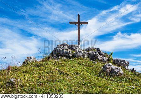 Summit Cross On The Mountain Prediktstuhl In The Berchtesgaden Alps, Germany.