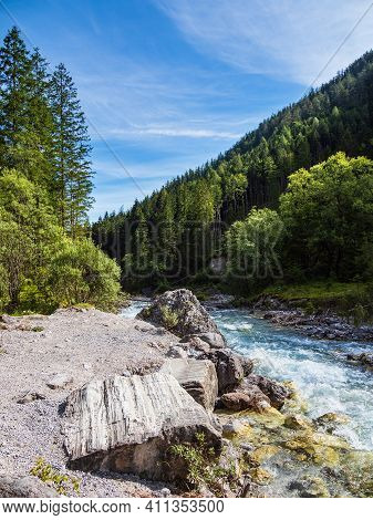 Valley Wimbachtal In The Berchtesgaden Alps, Germany.