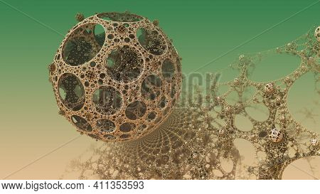 Abstract background, fantastic golden structures, fictional sci fi background 3D render illustration.