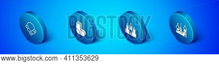 Set Isometric Russian Bagels, Church Building, Saint Basils Cathedral And Valenki Icon. Vector