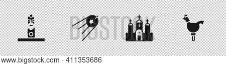 Set Slavic Pagan Idol, Satellite, Church Building And Cockerel Lollipop Icon. Vector