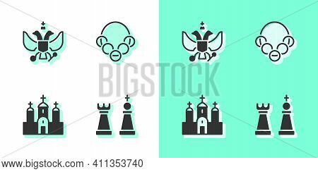 Set Chess, National Emblem Of Russia, Church Building And Russian Bagels Icon. Vector