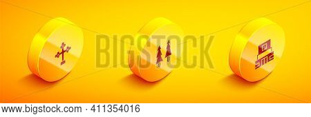 Set Isometric Christian Cross, Christmas Tree And Mausoleum Of Lenin Icon. Vector