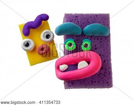 Funny animated sponges with plasticine eyes and lips. Emotions things