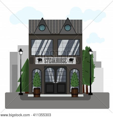 Steakhouse Exterior Vector Illustration. Flat Design Of Facade. Restaurant Building Concept. Grey Tw