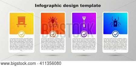 Set Hive For Bees, Insect Fly, Fly Swatter And Beetle Bug. Business Infographic Template. Vector