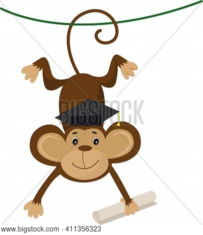 Vector Illustration Of A Cute Cartoon Monkey With Bachelor Cap And Scroll For Your Design