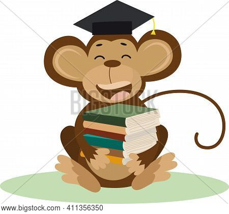 Vector Illustration Of A Cute Cartoon Monkey With Bachelor Cap And Books For Your Design