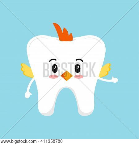 Easter Cute Tooth In Chicken Costume Dental Icon Isolated On Background. Dentist White Teeth Easter