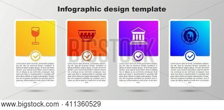 Set Wine Glass, Greek Ancient Bowl, Parthenon And Ancient Coin. Business Infographic Template. Vecto