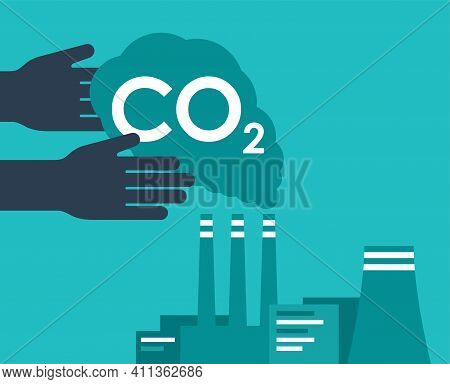 Carbon Capture Technology Research - Net Co2 Footprint Neutralize Development Strategy. Vector Illus