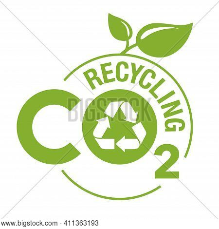 Co2 Recycling Green Stamp. Net Zero Carbon Neutral Footprint In Bubble Shape - Carbon Emissions Free