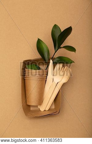 Eco Friendly Disposable Tableware, Zero Waste, Plastic Free Concept. Eco Sustainable Life.