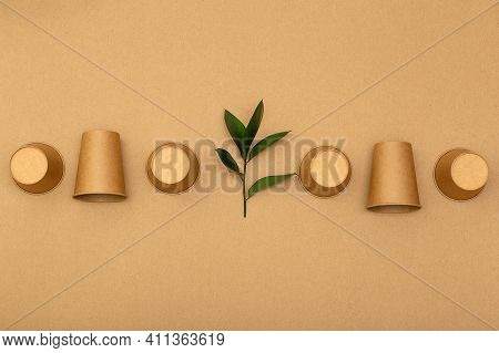 Disposable Paper Cups And Plant On Beige Background Top View. Plastic Free Concept. Zero Waste