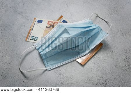 Medical mask and money, high price of masks and demand during quarantine