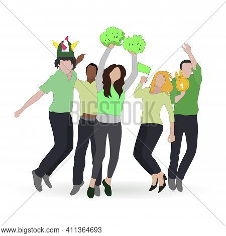Football Fans Crowd With Colored Scarf Enjoy And Exciting, Terrific Public Cooling, Vector Spectator