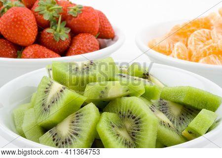 Kiwi, Strawberries  On White Bowls, White Background, Isolated, Tasty And Delicious Strawberry,kiwi