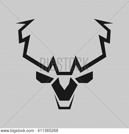 Abstract Deer Head Silhouette Portrait Symbol On White Backdrop. Design Element