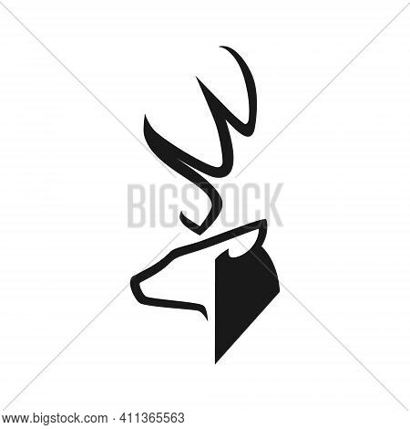 Abstract Deer Head Silhouette In Profile Portrait Symbol On White Backdrop. Design Element