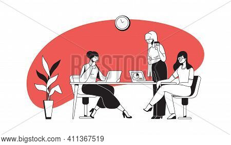 Business Presentation And Negotiation On Project. Cartoon Employees Sitting At Table And Talking. Cu