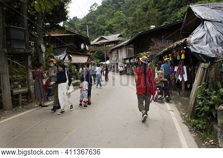 Thai People And Foreign Travelers Walking Travel Visit Baan Mae Kampong Village Valley Hill Doi Mon