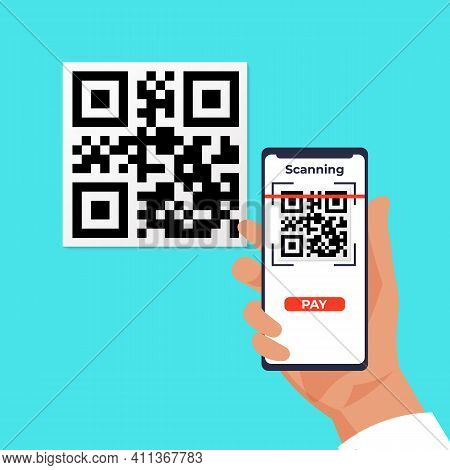 Qr Wireless Payment. Cartoon Human Hand Holding Smartphones And Scanning Barcode. Mobile Application