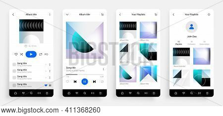 Music Player App. Mobile Multimedia Application Interface With Musical Album, Song Playlist And Soci