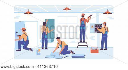 Home Repair. Cartoon Service Workers Make Renovation. Professional Builders Brigade Gluing Wallpaper