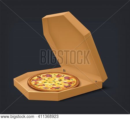 Realistic Open Box With Pizza. National Italian Meal In Blank Square Cardboard Container. Isolated P
