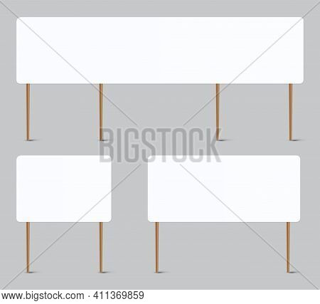 Blank Placard. Realistic Whiteboard Attached To Wooden Sticks. Square Plank Mockup For Writing. Visu