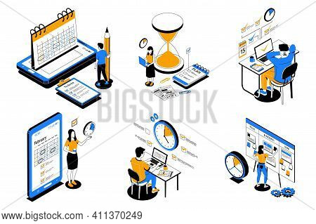 Time Management. People Organize Productive Workflow And Effective Schedule. Cartoon Men Or Women Su