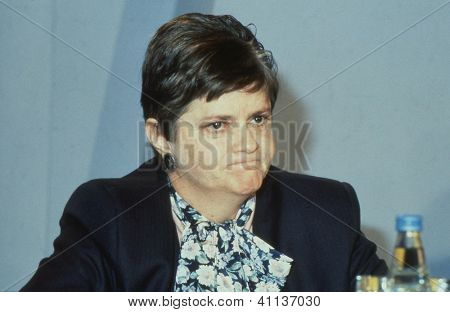 LONDON - JUNE 27: Ann Widdecombe, Parliamentary Under Secretary of State for Social Security and Conservative M.P. for Maidstone, attends a conference on June 27, 1991 in London.