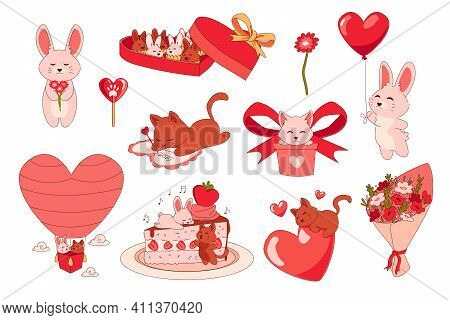 Animals With Hearts. Cartoon Romantic Stickers. Cute Bunny Giving Red Balloon And Funny Kitten Signi