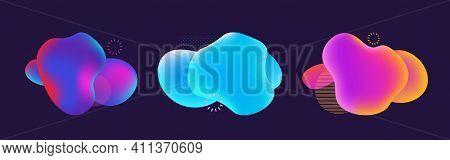Modern Fluid Dynamic Blobs Bubble. Gradient Colorful Liquid Free Minimal Geometrical Shape. Trendy B