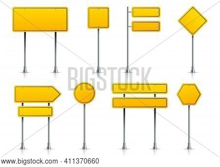 Road Yellow Sign. Realistic Highway Signage On Pole. 3d Metal Roadside Pointers. Isolated Types Of B