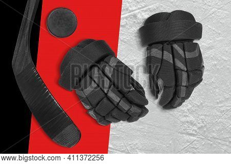 Hockey Gloves, Stick And Puck On The Ice Rink. Concept, Hockey, Wallpaper
