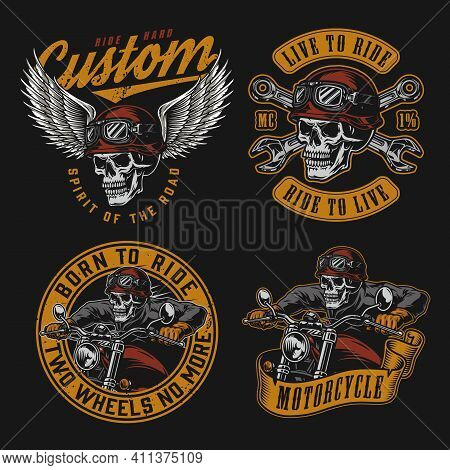 Motorcycle Vintage Colorful Emblems With Inscriptions Skeleton Biker Riding Motorbike Skull In Moto