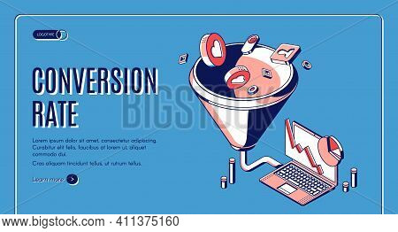 Conversion Rate Isometric Web Banner. Funnel Sales Channel, Inbound Business Marketing Buyer Convers
