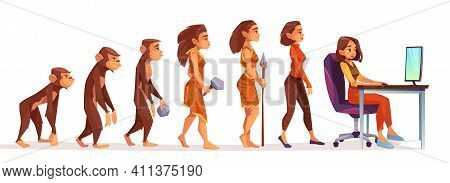 Human Evolution From Monkey To Freelancer Woman, Time Line Female Character Evolve Steps From Ape To