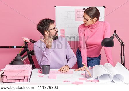 Image Of Woman And Man Have Argument And Misunderstanding Work Together At Productive Solution Colla