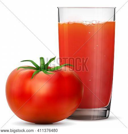 Tomato Juice In Glass Isolated On White Background. Whole Tomato Fruit With Fresh Squeezed Juice Gla