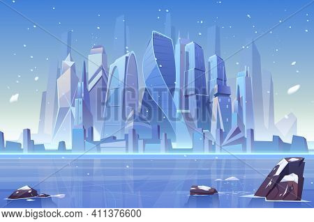 Winter City Skyline At Frozen Waterfront Bay. Futuristic Metropolis Architecture View Under Fallen S
