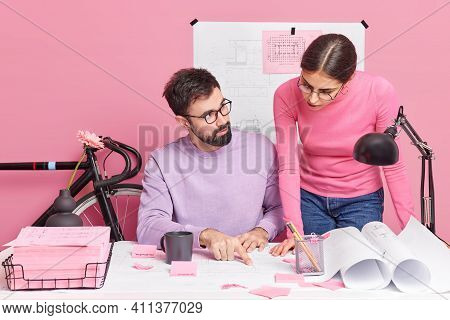 Woman And Man Colleagues Enjoys Coworking Process Discuss Something Consult Each Other Busy Doing De