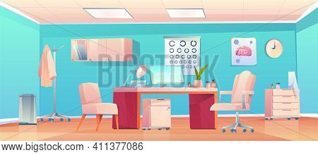Doctor Therapist Office, Empty Cabinet Interior With Medical Stuff, Furniture And Equipment, Medicin